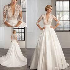 discount 2017 deep v neck lace appliques a line wedding