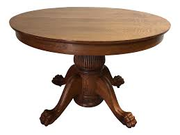 Round Dining Table Oak Antique Victorian Tiger Oak Round Dining Table Chairish