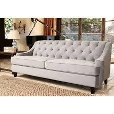 Beige Tufted Sofa by Abbyson Living Claridge Steel Blue Velvet Fabric Tufted Sofa By