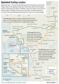 San Diego Trolley Map New Trolley Routes Coming Next Month The San Diego Union Tribune
