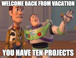 Welcome Back Meme - welcome back from vacation you have ten projects meme