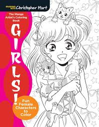 the manga artist u0027s coloring book girls fun female characters to