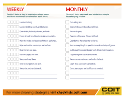 house checklist weekly and monthly house cleaning checklist coit