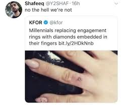 Engagement Meme - millennials replacing engagement rings with diamonds embedded in