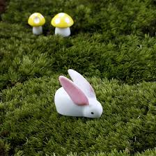 2pcs lovely rabbit ornaments micro landscape home garden