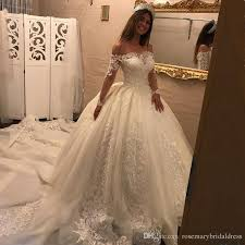 boat neck wedding ball gowns fancy long sleeve lace wedding