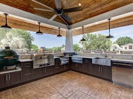 Outdoor Kitchen Covered Patio Covered Patio Gray Countertop Built In Barbecue Grill Outdoor