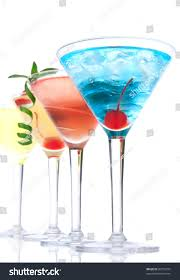 Martini Alcohol Cocktails Row Blue Hawaiian Stock Photo 80755372