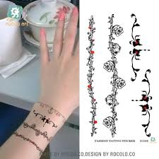 bracelet tattoo designs wrist images Waterproof disposable tattoo stickers wrist vine flower bracelet jpg