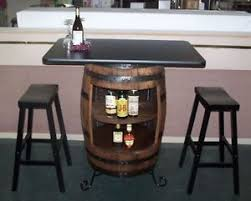 whiskey barrel bar table white oak whiskey barrel bar table cabinet wrought iron stand 2 29