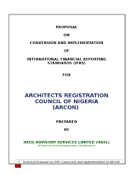 ifrs proposal from heed advisory services to arcon historical