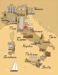 Italy Map With Cities Italy Travel Map With Sights Flat Style Illustration Popular