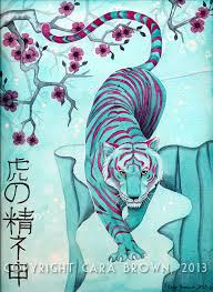 tiger painting in watercolor poster in shades of teal and