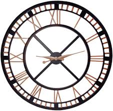 huge wall clocks round black and lightsalmon oversized wall clock