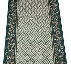 dean hunter green scroll border washable non skid carpet rug
