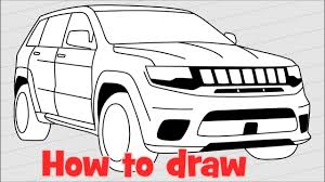 jeep logo drawing how to draw jeep grand cherokee trackhawk youtube