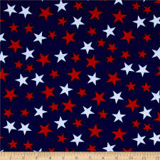 Red White Flag With Blue Star Poly Spandex Jersey Knit Stars Print Red White Navy Discount