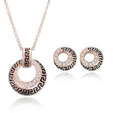 rose gold necklace earrings images 2018 european and american fine draw diamond commemorative gift jpg