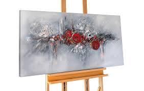 Esszimmerm El Retro Xxl Acrylbild Abstrakt Rot Grau Kaufen Kunstloft