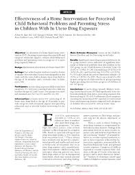 effectiveness of a home intervention for perceived child