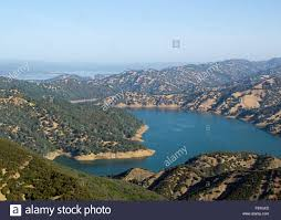 view of lake berryessa from the blue ridge trail stock photo