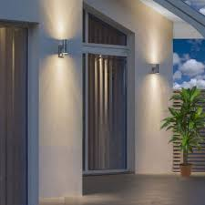 outdoor double wall light pir stainless steel double outdoor wall light with movement sensor