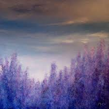 Impressionist Landscape Painting by Lavender Field Abstract Painting By Kirstin Mccoy Lavender