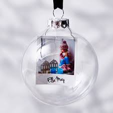 photo glass personalised bauble by