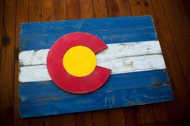 Blue Flag With Yellow Circle Colorado Vintage Wood Flag U2013 Patriot Wood