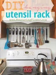 kitchen utensil holder ideas diy hanging utensil rack measuring flower