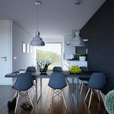 textured navy and wood apartment industrial pendant lit dining