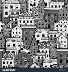 seamless pattern houses doodle house vector stock vector 444723097