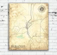 Paper Town Map Durango Co Colorado Vintage Map Durango Vintage City Wall Art