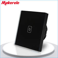touch screen wall light switch eu standard touch switch black crystal glass panel 1 gang 2 way