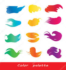 set of vector watercolor brush strokes full color wheel palette