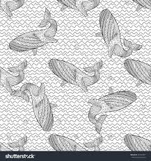 oceanic animal zentangle seamless pattern hand stock vector
