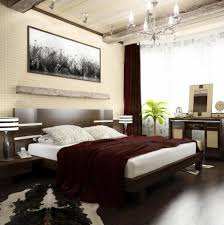 cozy wooden flooring bedroom design with fancy chandelier in
