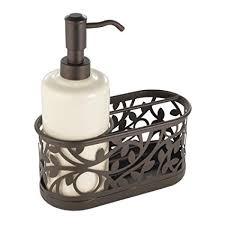 amazon soap dispenser kitchen sink amazon com interdesign vine soap dispenser pump and sponge caddy