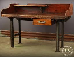 vintage oak work bench desk table counter top cast iron legs