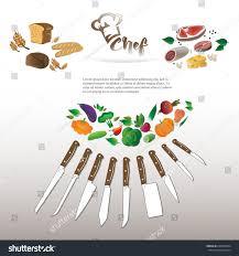 food set kitchen knives stock vector 640483024 shutterstock