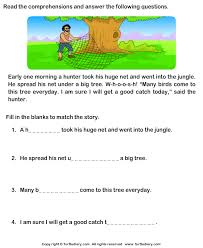 reading comprehension hunter worksheet turtle diary