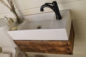 chic design ideas with reclaimed wood bathroom vanities all incredible decorating ideas using black single hole faucets and rectangular white sinks also with brown