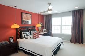 Red Bedroom Accent Wall - red accent wall entry contemporary with dark stained wood floor