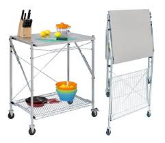 folding kitchen island cart stainless steel folding utility table in kitchen island carts