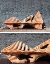 Slat Bench This Sculptural Wooden Slat Bench Was Inspired By A Falcon