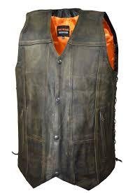 retro motorcycle jacket brown leather biker vest for men distressed motorcycle vest