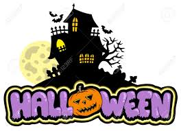 halloween sign with haunted house royalty free cliparts vectors