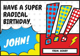 comic themed cool birthday card templates by canva