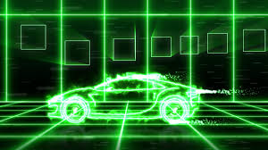 abstract animation of green energy futuristic super car made with