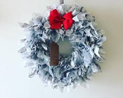christmas wreath grey wreath gray wreath rag wreath boho